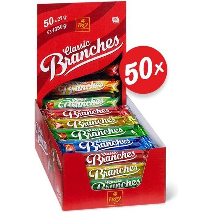 Frey 50 Branches Classic - Barres de chocolat - Présentoir de 50 barres de chocolat SUISSE au lait fourrées à la crème aux noisettes