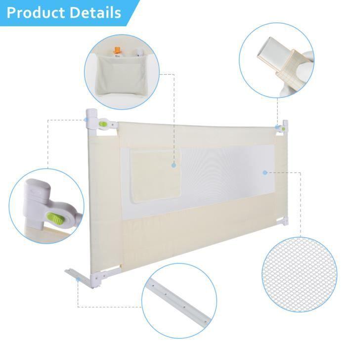 SOULONG Barrière de Sécurité Rétractable de Lit Portable pour Enfants Barrière de Lit Pliable pour Bébés en Tissu Oxford Prot -JIL