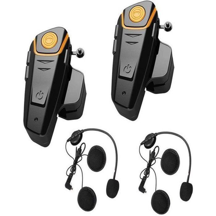 Intercom - 2PCS Kit Communication 1000m 5 Riders FM Casque de moto Bluetooth Interphones