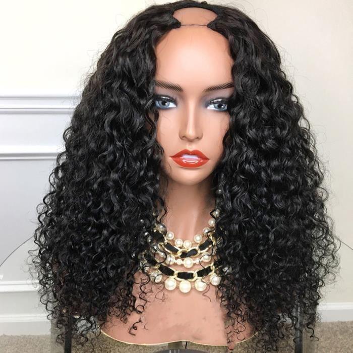 Perruque u-part brésilienne Remy bouclée cheveux naturels sans colle 18 pouces