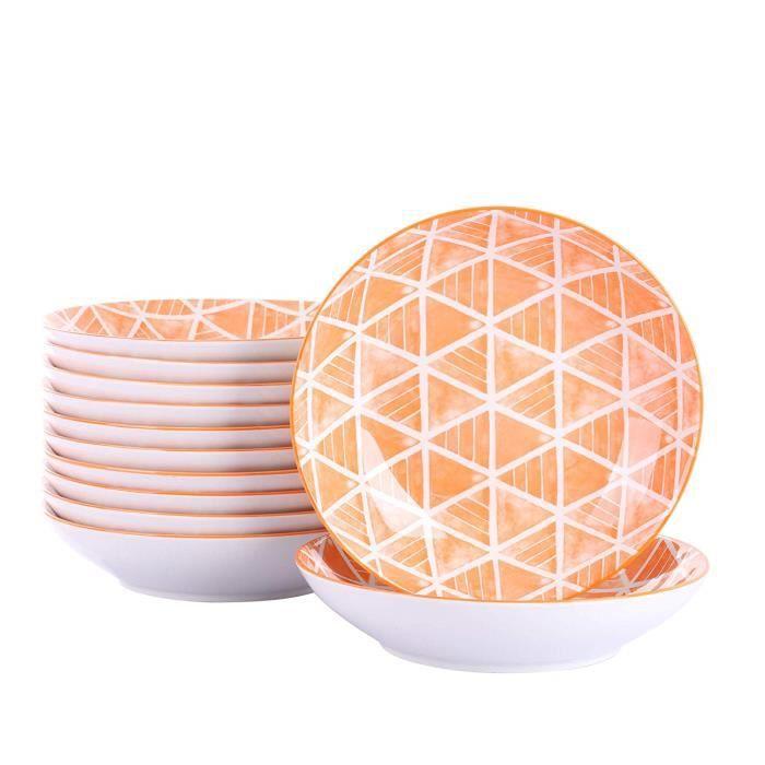 Vancasso, série SAYUKI, Set 12 pièces, assiettes de table Service de vaisselle en porcelaine Assiette, assiette pour assiette,
