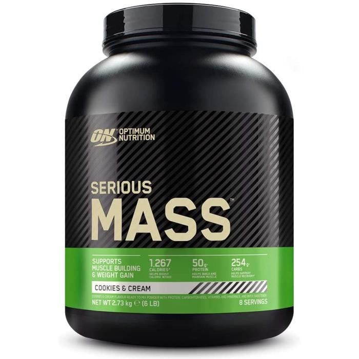 Optimum Nutrition Serious Mass, Mass Gainer avec Whey, Proteines Musculation Prise de Masse avec Vitamines, Creatine et Glutamine, C