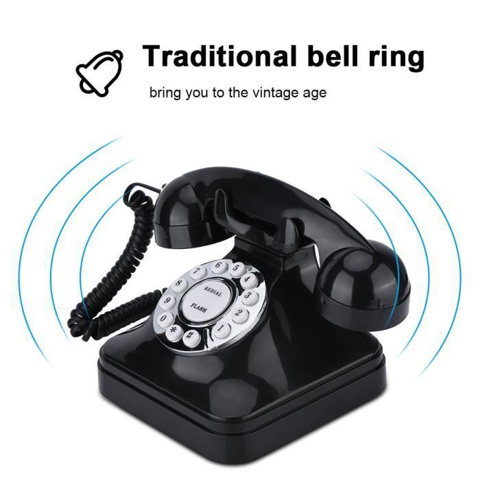 WX-3011 Téléphone Filaire Vintage Noir Multifonction en Plastique Ligne Fixe à Domicile Rétro HB001