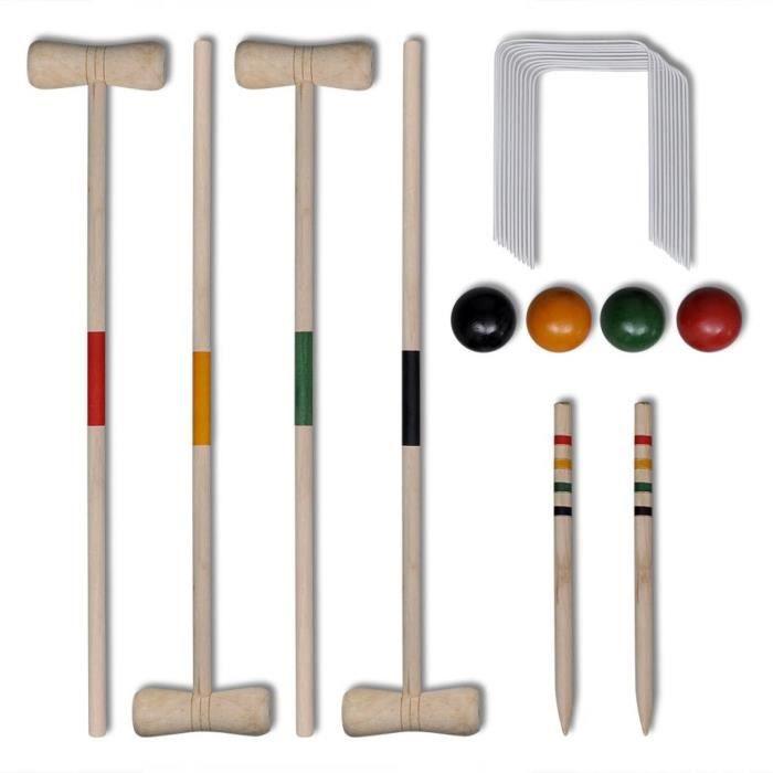 Ensemble de croquet en bois pour 4 joueurs HB055