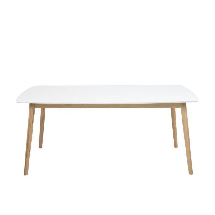 BOBOCHIC Table à manger 180cm NAGANE laquée blanche base en bois massif Blanc Plateau en bois Bois massif Design intemporel