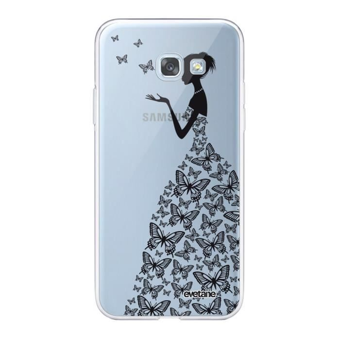 Coque Samsung Galaxy A5 2017 360 intégrale transparente Silhouette Papillons Ecriture Tendance Design Evetane