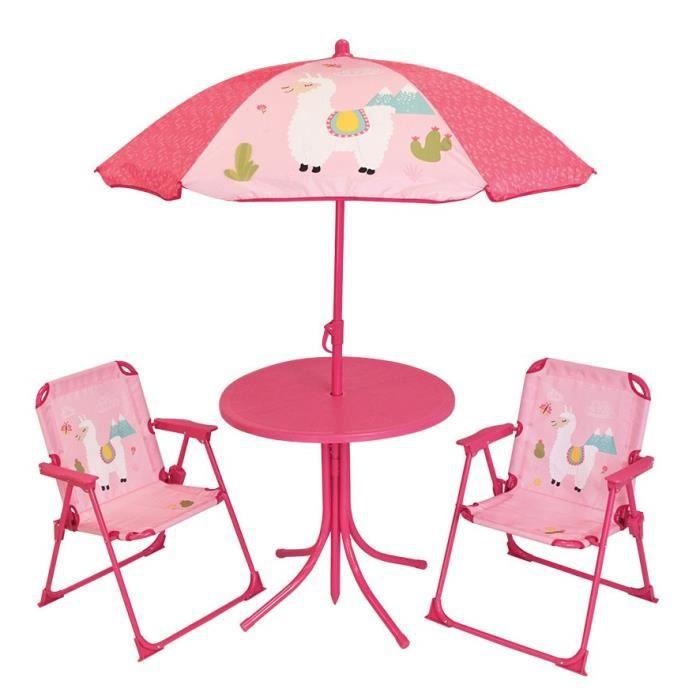 FUN HOUSE 713141 LOLA LAMA Salon de jardin avec une table , 2 chaises pliables et un parasol pour enfant