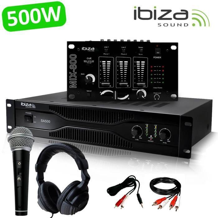 Pack Sono Dj Amplificateur 500W IBIZA SOUND SA500 + Table de mixage MIX800 + CASQUE MICRO + Câblages RCA + PC