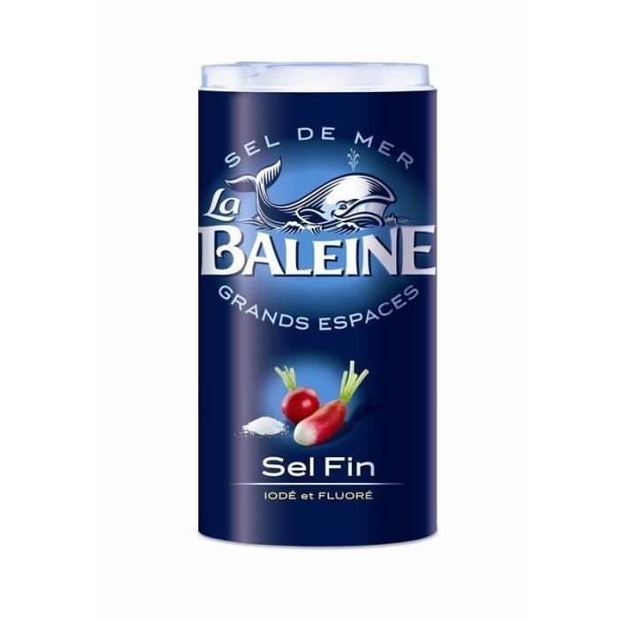 La Baleine Sel Fin Iodé et Fluoré 550g (lot de 10)