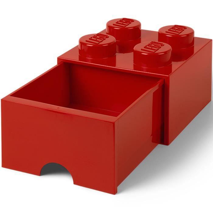 LEGO 40051730 Boîte bac Brique de rangement empilable Légo 4 plots 1 tiroir Plastique Rouge H18 x 25 x 25 cm