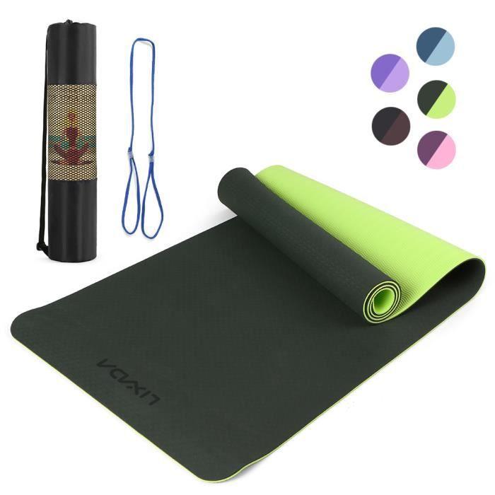 Lixada 72.05 × 24.01in Portable Double Dual-colour Yoga Mat Thicken Sports Mat Tapis d'exercice antidérapant pour les entraînem-742