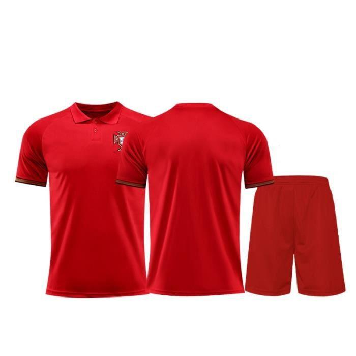 Nouveau Portugal 2020 2021 Jersey Maillot Foot Short de Football Soccer(Tops + Short)Kit Pas Cher pour Homme Enfant Garçon