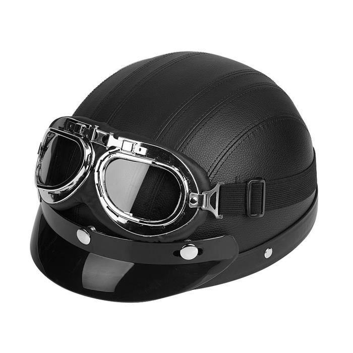 Casque en cuir avec lunettes anti-UV(Tour de tête: 54-60cm)-DIN