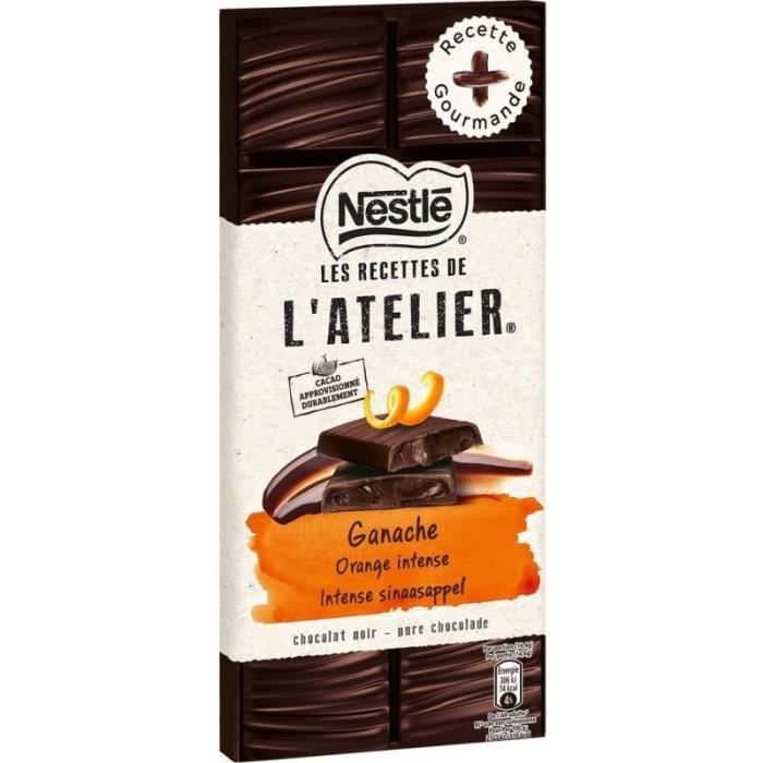Nestlé Les Recettes de l'Atelier Ganache Orange Intense Chocolat Noir 150g (lot de 10)