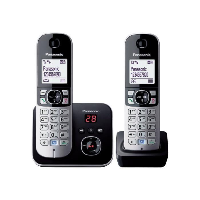 Panasonic KX-TG6822EB Téléphone sans fil système de répondeur avec ID d'appelant DECTGAP noir + combiné supplémentaire