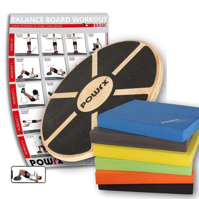 Planche d'équilibre en bois + Balance Pad en mousse / (Jaune)