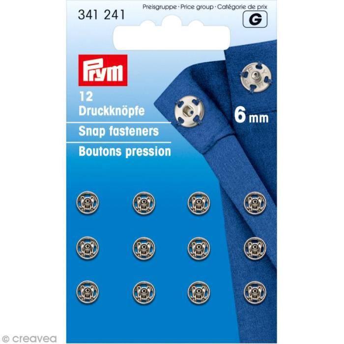 Bouton pression Prym à coudre - 6 mm argenté - 12 pcs