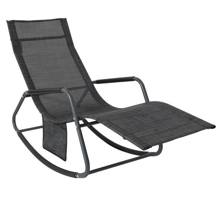 SoBuy® OGS47-MS Fauteuil à Bascule Transat de Relaxation Chaise Longue Bain de Soleil Rocking Chair avec Pochette latérale