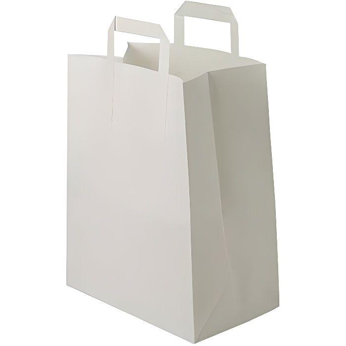 50 Sacs kraft blanc à poignées plates 6 LITRES : 28 cm haut x 22 large x 10 cm soufflet un petit cabas boutique élégant et solide et