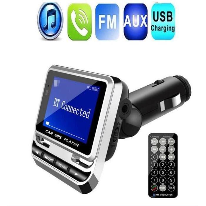 Transmetteur FM Bluetooth sans fil Lecteur de musique de voiture Télécommande Port USB 1.3 -Écran LCD Multifonction AUTORADIO