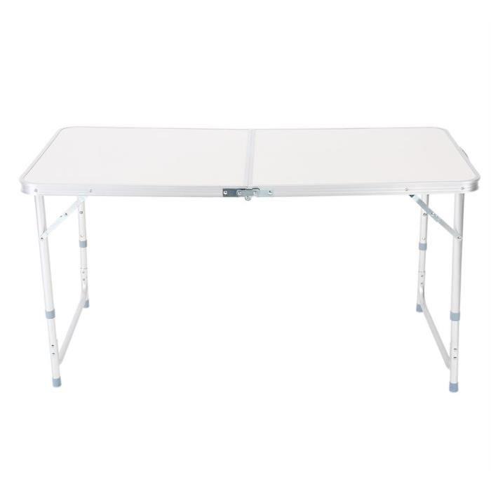 Table pliante 4ft acier blanche portable camping picnic chevalet outdoor indoor