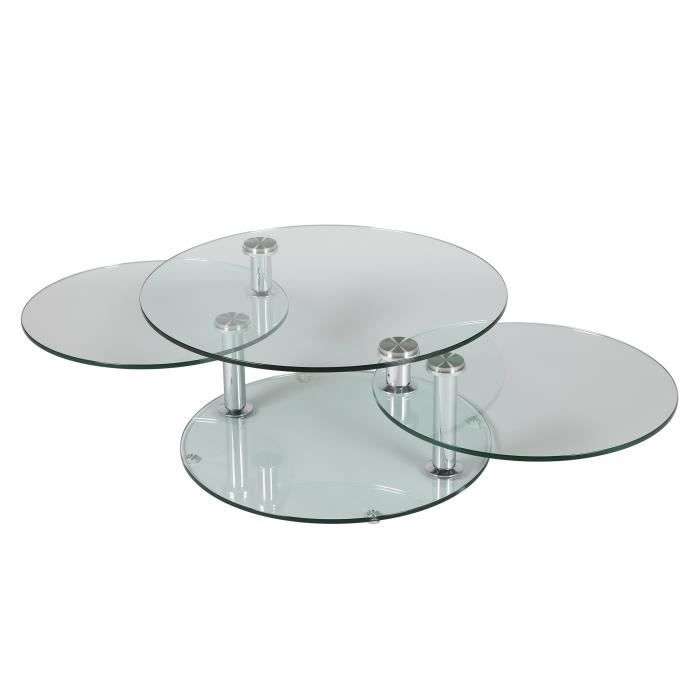Table basse 3 plateaux ovales en verre tremp glass achat vente table basse table basse 3 for Grande table de salon en verre