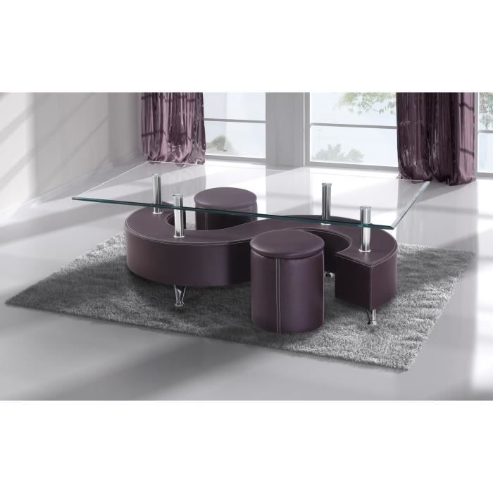 Table basse en verre avec 2 poufs simili cuir brun achat vente table bass - Table basse simili cuir ...