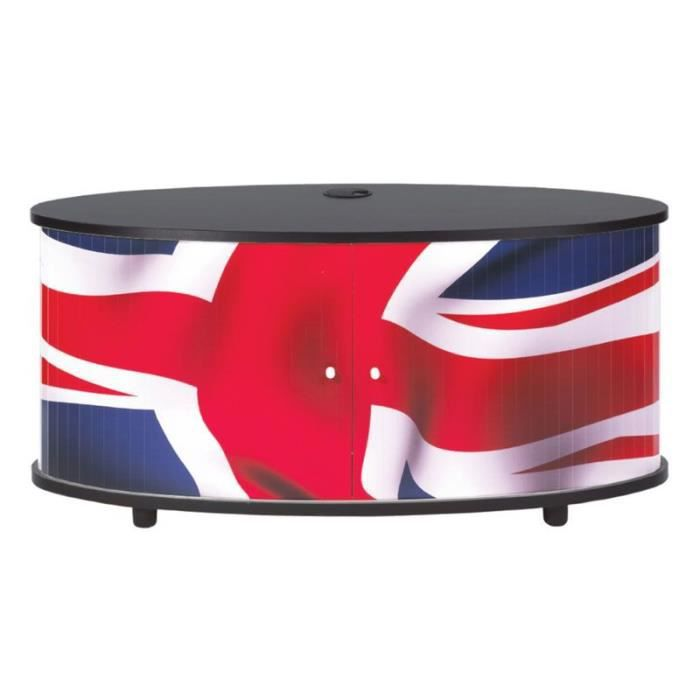 meuble tv london drapeau anglais noir achat. Black Bedroom Furniture Sets. Home Design Ideas