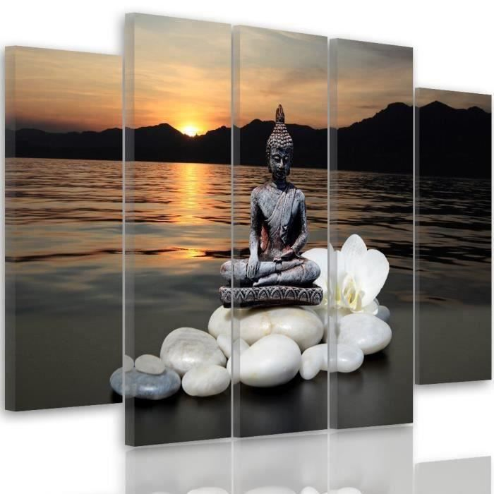 tableau d co multi panneaux mural impression sur toile 200x100 zen composition bouddha galets. Black Bedroom Furniture Sets. Home Design Ideas