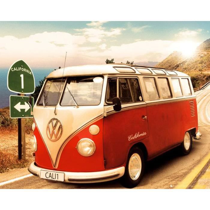 poster combi vw old school california camper route one achat vente affiche cdiscount. Black Bedroom Furniture Sets. Home Design Ideas