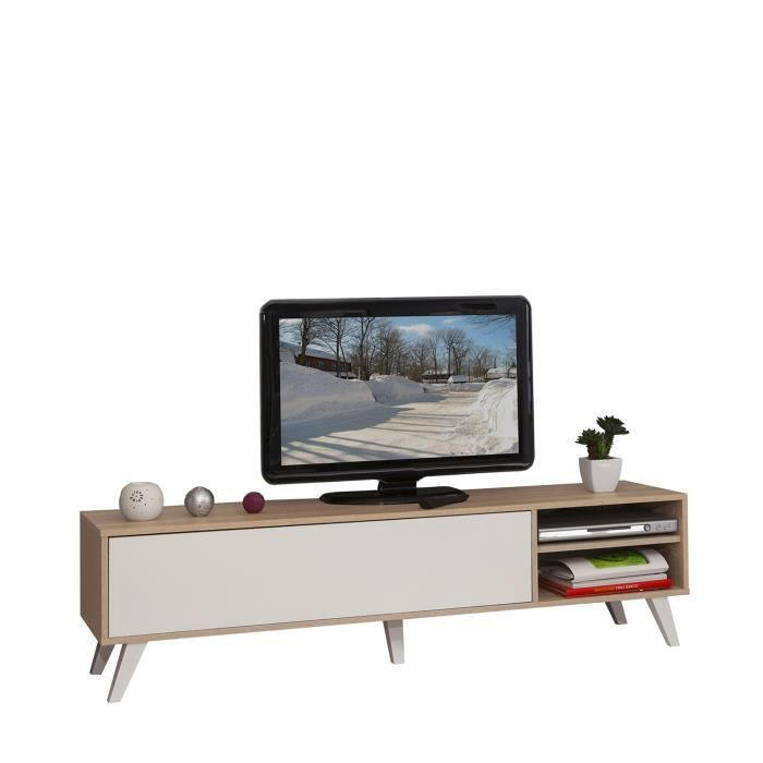Meuble tv 1 porte abattante 2 niches finition ch ne naturel et laqu blanc ba - Cdiscount meuble tv blanc ...