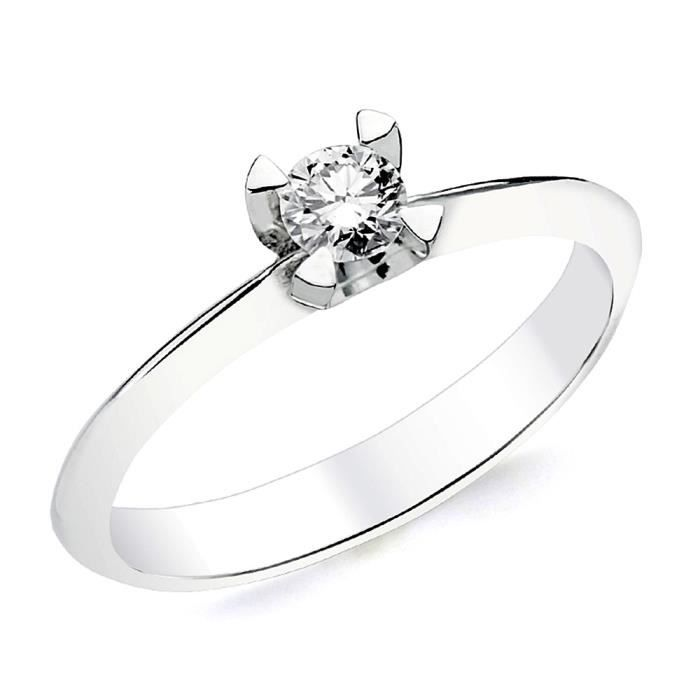Bague solitaire Or blanc 18 0,200ct 1 diamant brillant. [AB2831] - Taille: 54