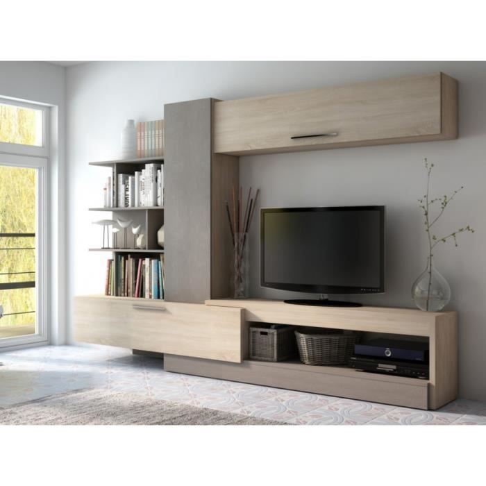 mur tv spike avec rangements ch ne taupe achat vente meuble tv mur tv spike avec. Black Bedroom Furniture Sets. Home Design Ideas