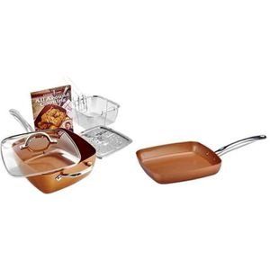 BATTERIE DE CUISINE COPPER CHEF- POELE ANTI ADHESIVE -SET DE 5 PIECES