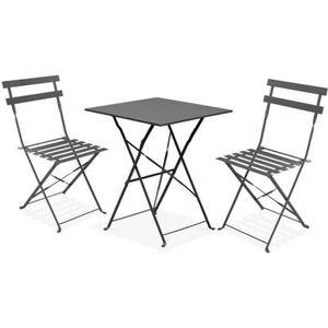 SALON DE JARDIN  Ensemble table et chaises pour balcon 2 places