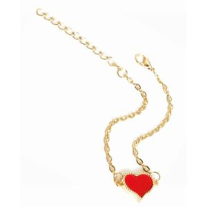 BRACELET DE MONTRE Bracelet doré coeur émail rouge (rouge - Métal dor
