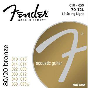 CORDE POUR INSTRUMENT Fender 70-12L 10-50 Cordes guitare folk à 12 corde