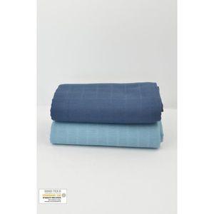 INSERT - LANGE TISSU Lot de 2 Maxi langes 100% coton bio unis Bleu Ardo