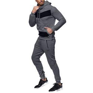 SURVÊTEMENT Sweat Zipper Patchwork Automne Hommes Top Pantalon