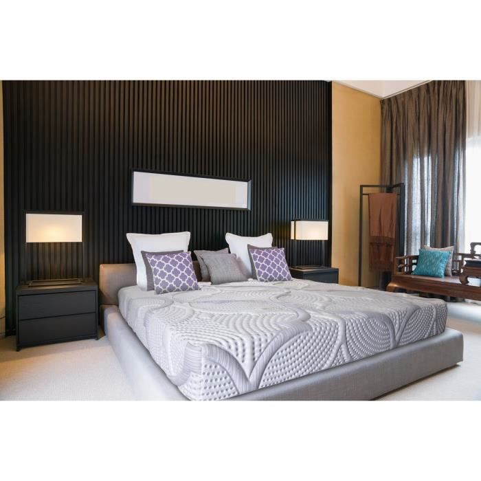 olympe literie matelas 140x190 m moire de forme lavend 39 tech 30kg m3. Black Bedroom Furniture Sets. Home Design Ideas