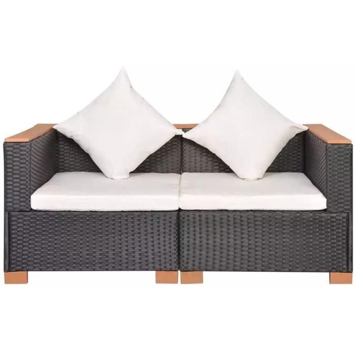 Canapé de Jardin Canapé de Terrasse Sofa de Patio Canapé de Patio Meuble de Terrasse Meuble d'Extérieur Arrière-Cour Résine Tre[388]