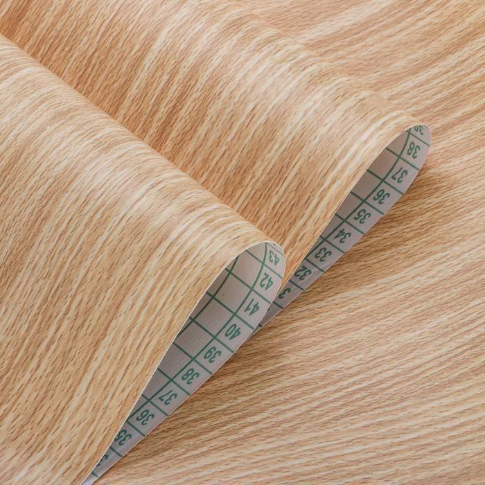 10m Papier Peint PVC Etanche Grain de bois Auto-adhésif Rouleau Décor Meubles Armoires sapin jaune
