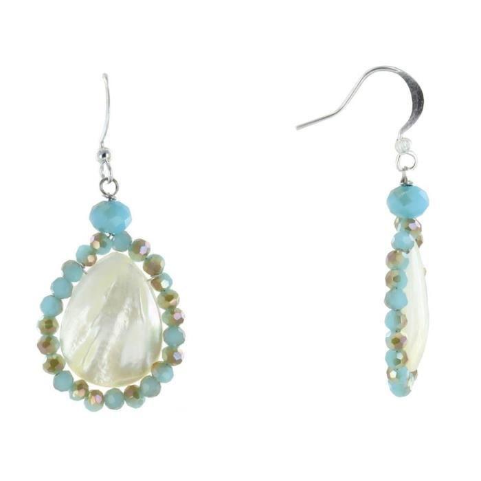 Les Poulettes Bijoux - Boucles d'Oreilles Argent Goutte de Nacre Perles de Verre Facettées Bleu