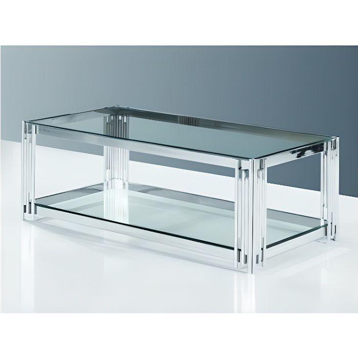 Table basse verre et pieds tubes chromés CAGLIARI