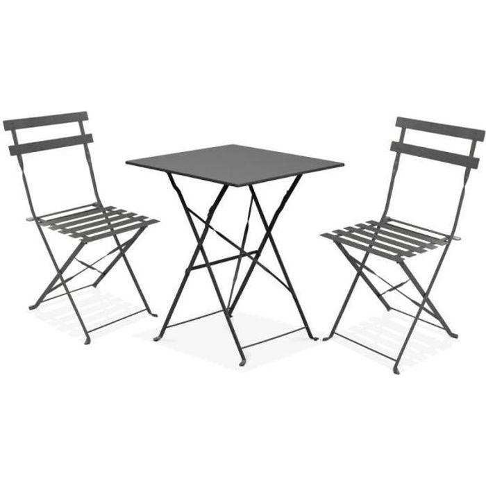 3tlg Aluminium Camping meubles salon set balcon mobilier table à dossier haut argent