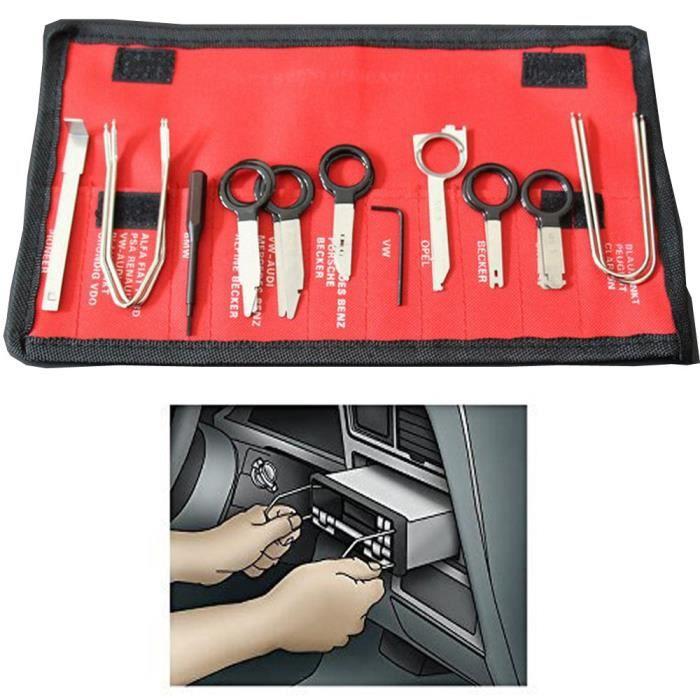 20Pcs Outil Démontage Voiture Kit Clé Outil Autoradio Extraction Retrait Radio Stéréo Remouval Install Tool Key Set pour DVD Navigat
