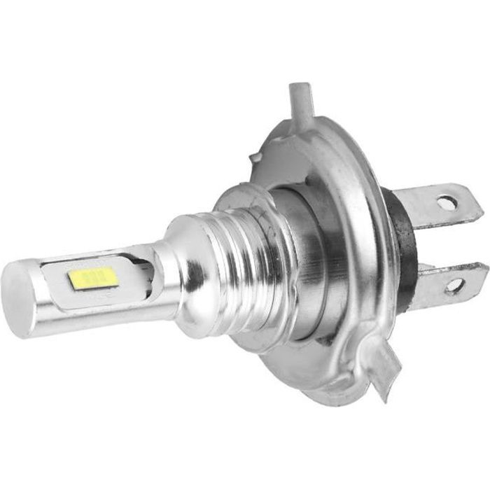 Drfeify ampoule H4 Puce d'ampoule LED de phare antibrouillard pour voiture de moto avec prise H4 80W DC 12V-24V (blanc 3000K)