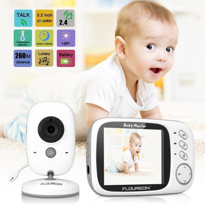 Floureon VB603 Écoute Bébé Babyphone Numérique sans Fil 2.4GHz Écran LCD 3.2'' Caméra Vision Nocturne Grand Angle de Vue Longue