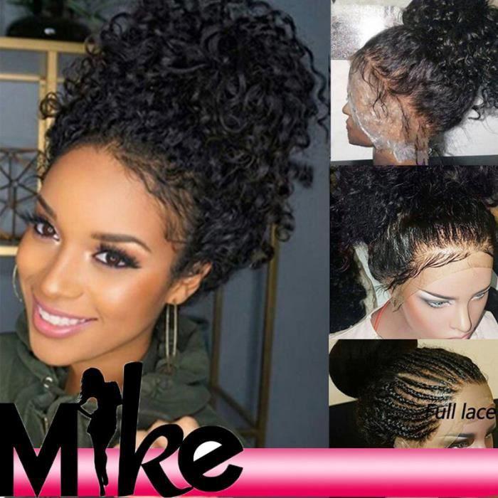 perruques de haute qualité naturelle humaine péruvienne deep curly full lace wigs 18 pouces