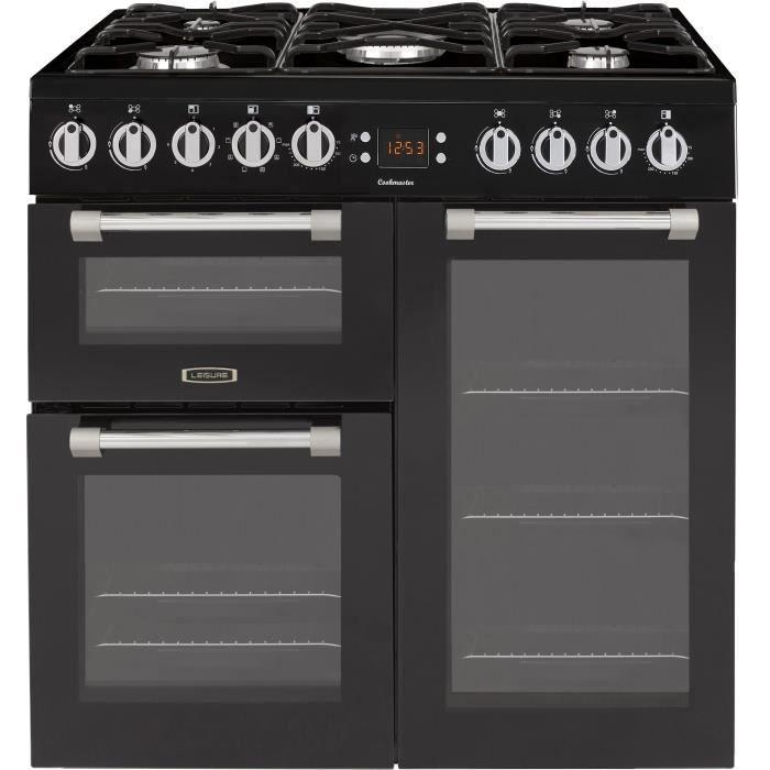 LEISURE CK90F320KG-Piano de cuisson table gaz-5 foyers-5,5kWh-triple cavité-2 fours+1 grill-60L+79L-A-Noir